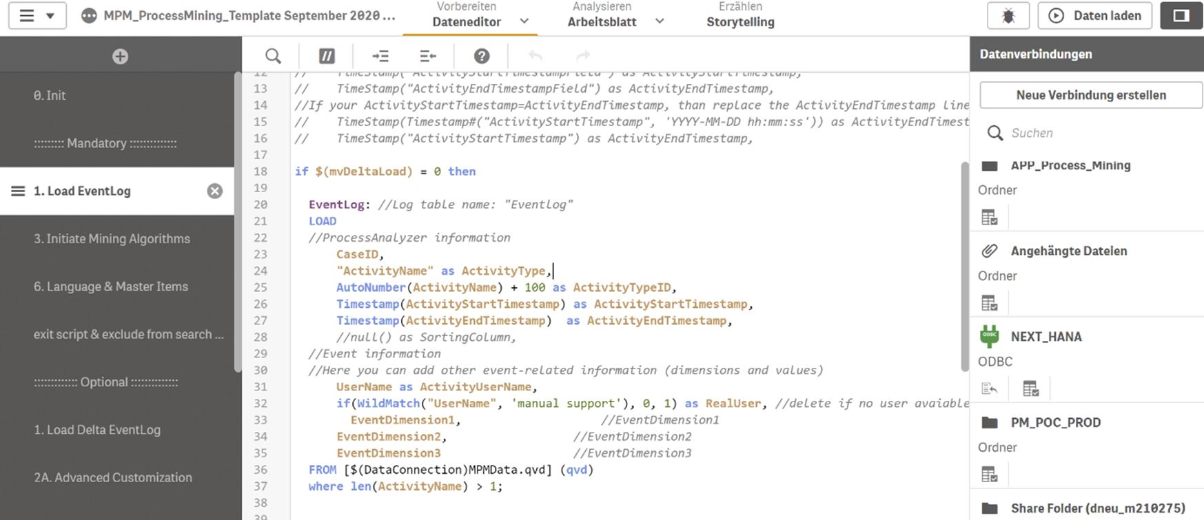 Figure 6 - Das Laden und Modellieren von Daten kann eingeschränkt visuell mit klickbaren Oberflächen erfolgen. Mehr Möglichkeiten bietet jedoch der Qlik Script Editor.