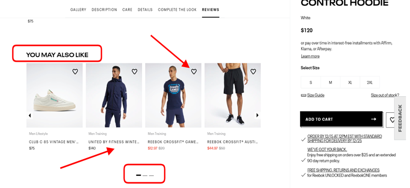 Screenshot taken on the official Reebok website