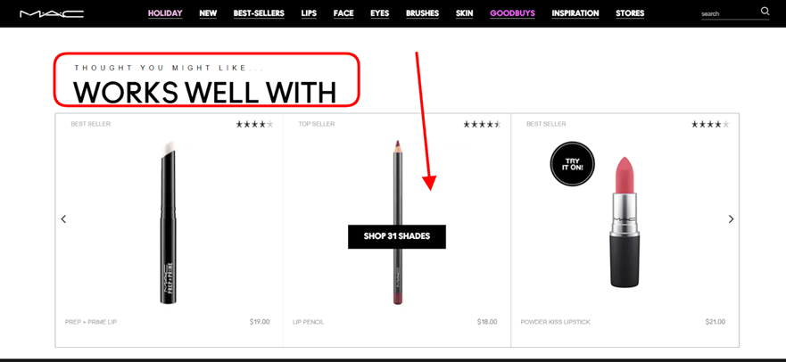Screenshot taken on the official MAC Cosmetics website