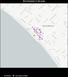 An example of how sparse scooter locations vs. highly concentrated scooter locations for a given Bird API call can create cluster distortion based on a static physical distance parameter in the DBSCAN algorithm. Left:Bird scooters in Brookline, MA. Right:Bird scooters in Santa Monica, CA.