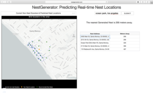 NestGenerator web-layout with nest addresses and proximity to nearest generated nests