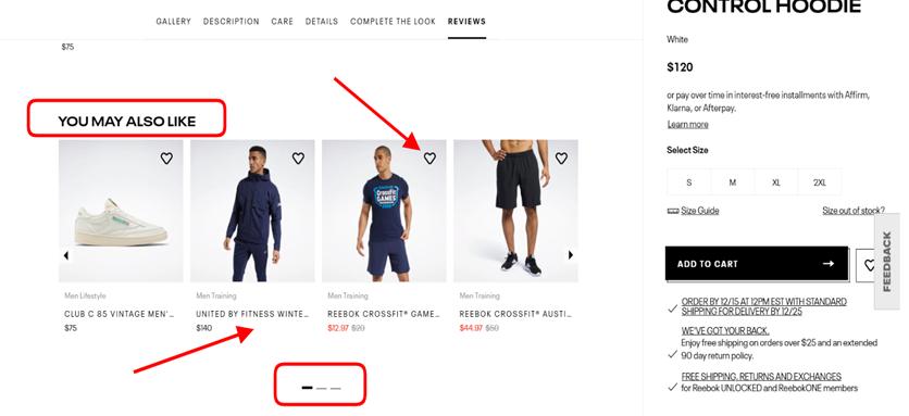 Screenshot taken on the official Reebok website
